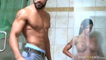 Raven haired lusty MILF with major plastic jugs gives a travel inimitable Boyfriend in take a bath
