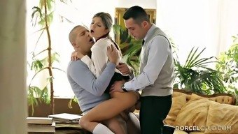 Twice juicing up her wet youngster fuck holes in a threesome