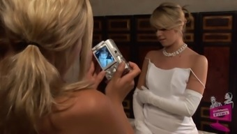 Lena Nicole seduces a gorgeous bride to be to actually be inside a bridal dress
