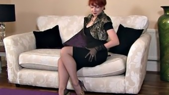Redhead Mum Along with Stockings In Alone Act