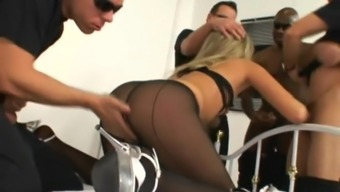 Reasonably black in nylon pantyhose getting gangbanged intense in group love-making