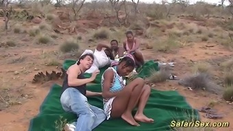 serious hot african-american nice girls in her own first outdoor adventure safari sex orgy
