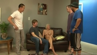 Blond whore Layla Costs is assuming a role in wild gangbang site