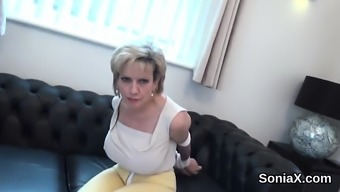 Disloyal english age lady sonia burst out her big tits