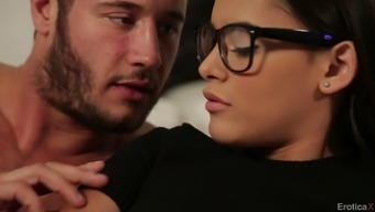 Horny teenager in spectacles getting her beaver hammered hardcore in bedroom