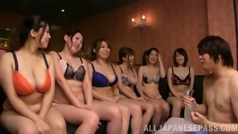 A massive team of Japanese people ladies have an orgy by using a man