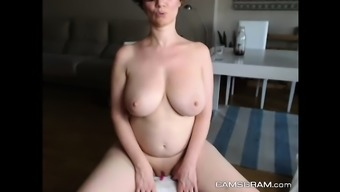 Gorgeous Large Breasted Milf Enhance Back with her Soppy Twat