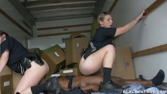 Caucasian policemen women fucks unparalleled scofflaw in threesome