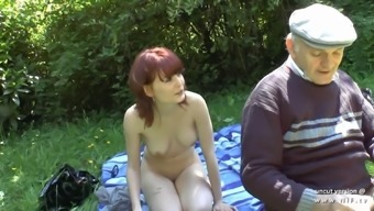 Pretty young french blond burst by oldman voyeur outdoor adventure