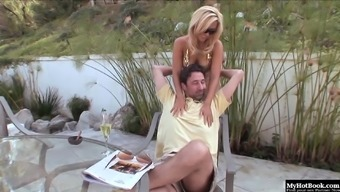 Attractive blond MILF with large boobs, Jenny Lopez, gets it on with her adult man