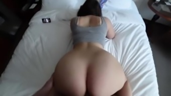 19 season old date in leggings fucks and gets sperm with her large stupid ass
