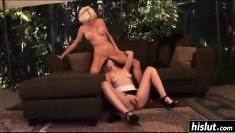 Heated lesbian blondes go and do some sixty-nine