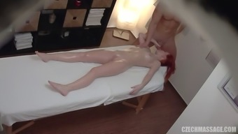 Blond Czech tramp gets pounded upon the rubdown counter