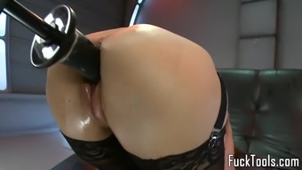 Some kind of toy babe defeated along with dildo system squirts