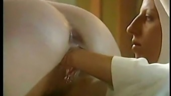 Lesbian nun fists her cousin outfit