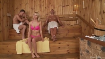 Karina\ Grand appreciates to effectively fuck with two different gentlemen directly inside the sauna