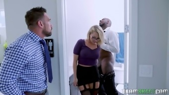 Sex-starved blonde Zoey Monroe seduces her boss and his black business partner