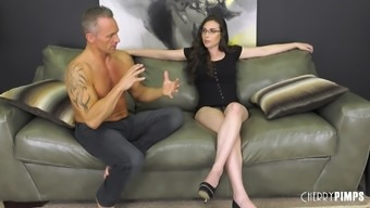 Tattooed guy talked Casey Calvert into playing with his dick