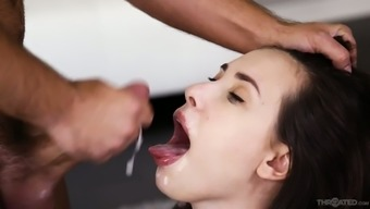 Brunette Casey Calvert sucks a thick giant cock in hot POV clip
