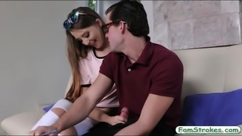 Teenie Avery Adair chastisize by her stepbro on the couch