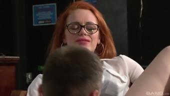 Ella Hughes wearing spectacles and needing her pierced twat burst