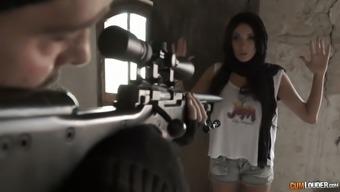 Sniper fucks fucking warm seductress with big boobs Anissa Kate