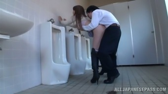 Japanese milf effect and gets fucked within a public wash room