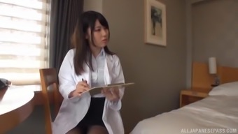 Gorgeous Japanese people nurse having her pussy lengthened and boned
