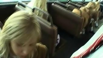 Schoolgirl Drains Stranger inside a Bus!