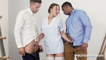 Sexy maid in light colored stockings Taylor Sands gets dual entered