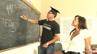 MILF Lisa Ann arranging her round titties to work with in a more school like