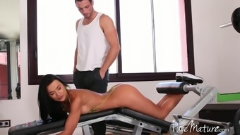 Golden Romanian babe Shalina Devine possessor up with her fitness coach