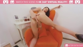 Sizzling busty damsel Kimber Lee is masturbating her challenging shaft shemale vr adult porn
