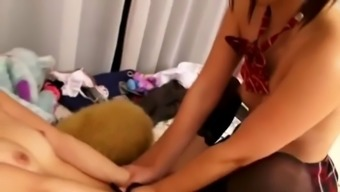 asian schoolgirl will be instructor into love-making maid