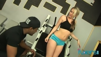 Sport flaxen chick Cindy Starfall holder with her navy training instructor