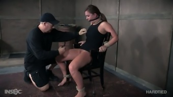 Hogtied passive harlot Maddy Oreilly gets her nipples pinned very difficult
