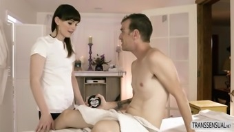 Ts Natalie Mars warm massage therapy intercourse with Chad