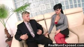 Jaw falling ladyboss Aletta Sea is examining a penis of her new employees