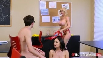 Alexis Fawx and Ariana Marie take on a nerd for getting a threesome