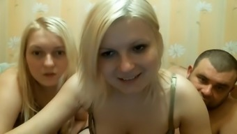 Warm threesome upon the web camera tell