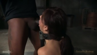 Meek and busty brunette housewife chained and facefucked