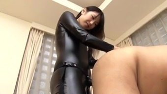 Japanese people strapon a leather covered tub chair female