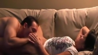 Intense sex by having wife on the couch