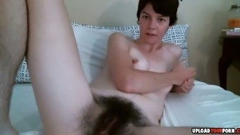 Skinny Milf Exposes Her Hairy Pussy