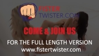 Lesbian Fisting - Big black dildo prepares blonde for fist fuck