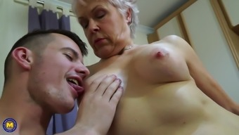 Granny and mom suck and fuck young sons