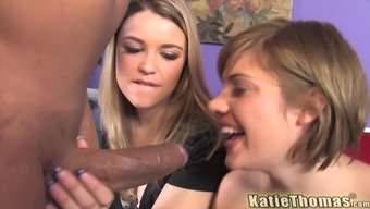 Haileey James and Katie Thomas swallow cum in an interracial foursome