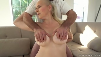 Chunky light haired mature whore Violett is fucked doggy hard enough