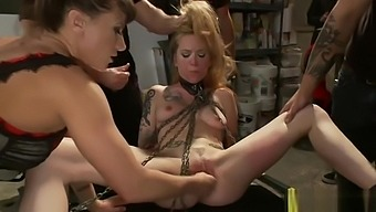Chained blonde fuck in public biker bar