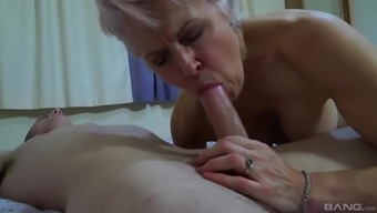 Short hair mature Lady Sextacy likes to ride on a friend's dick on the bed